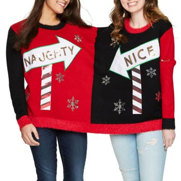 Naughty or Nice BFF Couples 2 Person Christmas Sweater