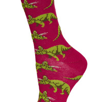 Raspberry Triceratops Ankle Socks