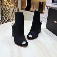 YSL Trending Women Black Leather Side Zip Lace-up Ankle Boots Shoes High Boots