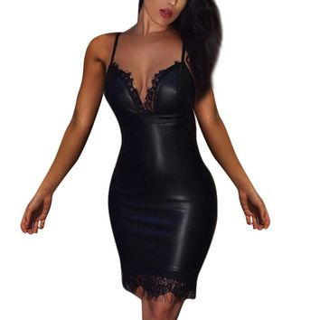 Summer Black Party Fashion Dress Women Ladies Sexy Leather Evening Lace Patchwork V-Neck Bodycon Mini Dresses Women Clothes 2019
