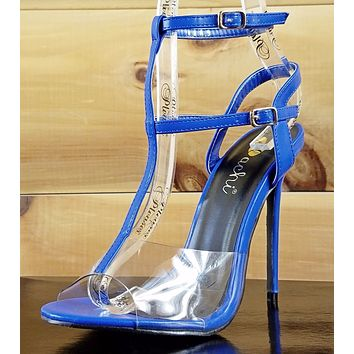 Ula Medium Blue Slingback with ankle strap Clear Lucite Toe High Heel Shoe 7-11