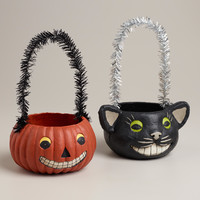 Black Cat and Jack-O-Lantern Containers, Set of 2