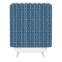 Vy La Blue Hex Shower Curtain