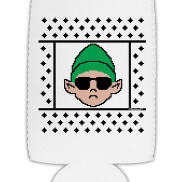 Cool Elf Christmas Sweater Collapsible Neoprene Tall Can Insulator