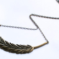 Brass Feather Necklace on Super Long Chain