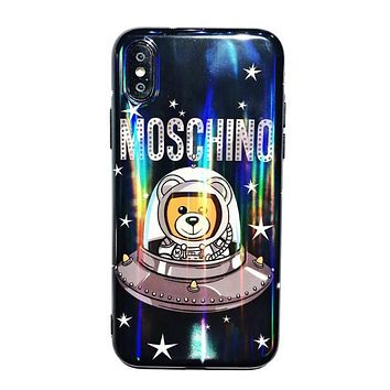 MOSCHINO Trending Women Men Stylish Space Bear Astronaut Laser Soft Mobile Phone Cover Case For iphone 6 6s 6plus 6s-plus 7 7plus 8 8plus X XsMax XR