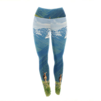 "Robin Dickinson ""Nature's Calling"" Blue Green Yoga Leggings"