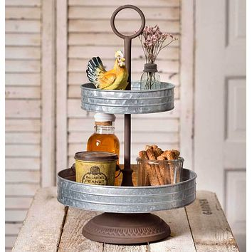 Rustic Primitive Country Style Two Tier Annabeth Metal Tray Display Serving ware