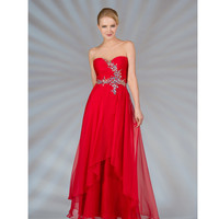 Red Chiffon Sweetheart Dress 2015 Prom Dresses