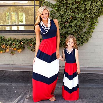 Mommy and me dresses clothes striped mom and daughter dress kids parent child outfits