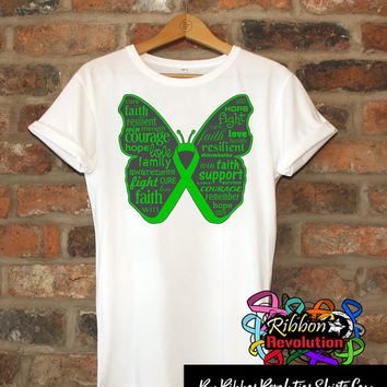 Inspiring Green Butterfly Awareness Ribbon Shirts for Bile Duct Cancer, Cerebral Palsy, Gastroparesis, Kidney Disease, Mito Disease and More