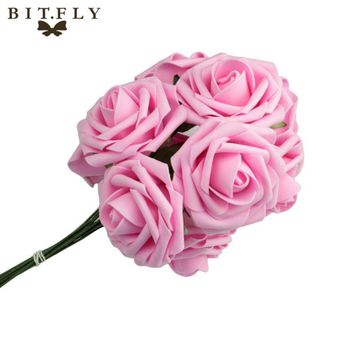 10pcs Wedding Bridal Bridesmaid Bouquet Artificial Foam Rose Flowers Decorations-L1
