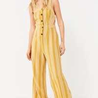 UO Ameliana Straight-Neck Button-Down Jumpsuit | Urban Outfitters