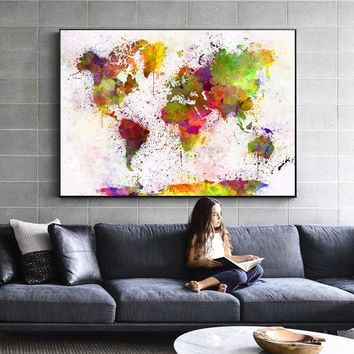 Modern Graffiti Pop Art Canvas Paintings On The Wall Watercolor World Map Posters Abstract Map Pictures For Living Room