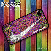 White nike JUST DO IT with aztec style : Handmade Case for Iphone 4/4s , Iphone 5 Case Iphone
