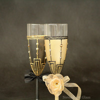 Gatsby Style Wedding, Champagne Glasses, Wedding Glasses, Champagne Flutes, Gold Black Glasses, Set of 2