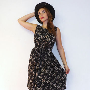 Vintage 90s Chick Black White Polka Dot Floral Day Dress Casual Short Party Dress Size small Hipster Mini Flirty Tea Dress 1950s 60s Style