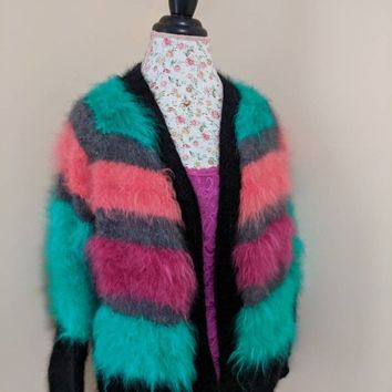 100% French Angora Rabbit Cardigan/ Angora bolero Handmade Knit SUPER FLUFFY Fuzzy Halo Cardigan V- neck no button Long Sleeves fits S/M/L
