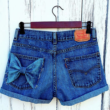 Levi high waisted denim shorts Distressed shorts ripped destroyed cut off shorts custom made with bow