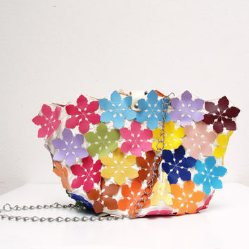 Kaleidoscope Vegan Leather Bag - Multicolored flower purse
