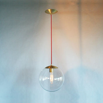 Modern Mid Century Globe Pendant Light  Clear by TheiaLuminaires