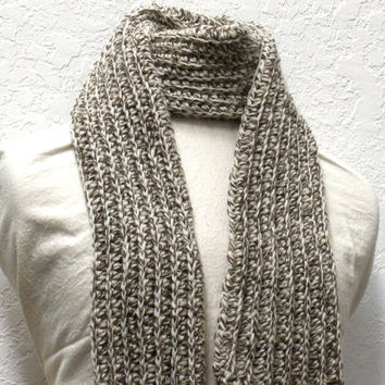 Crochet Scarf Ribbed Fisherman Wool