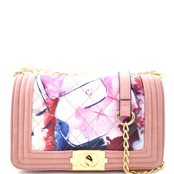 Abstract Painting Quilter Shoulder Bag - Pink