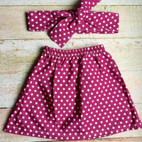 Polka dot skirt - matching head wrap, rich magenta polka dot, baby skirt, matching skirt set, polka dot head wrap, summer skirt