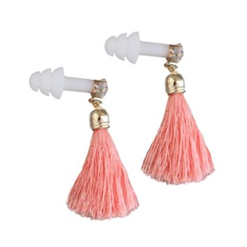 PEACH CORAL TASSEL RHINESTONE EARPLUGS- BREAKFAST AT TIFFANY'S
