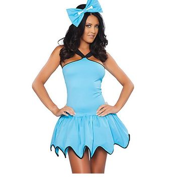 Dower Me Flintstones Rubble Cavegirl Womens Fancy Dress Light Blue Gear Hem Womens Costume Ladies Halloween Cave Cosplay W292710