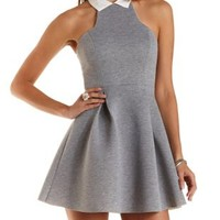 Collared Racer Front Skater Dress by Charlotte Russe