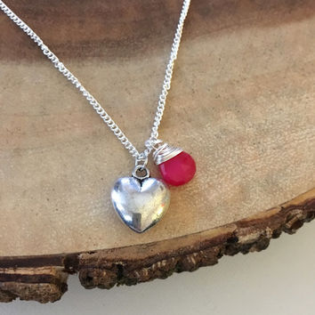 Large Silver Heart and Hot Pink Stone Charm Necklace, Valentines Gift, Charm Necklace For Her