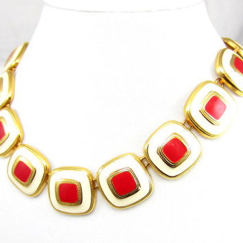 Vintage Red White Gold Tone Square Necklace Choker Bib Pendant Red Enamel High End Designer Vintage Costume Jewelry Modernist Geometrical
