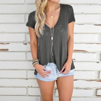 Gray Ripped V-Neck T-Shirt