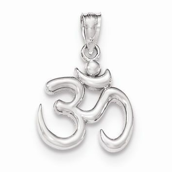 14 White Gold Polished Om Symbol Cahrm Pendant