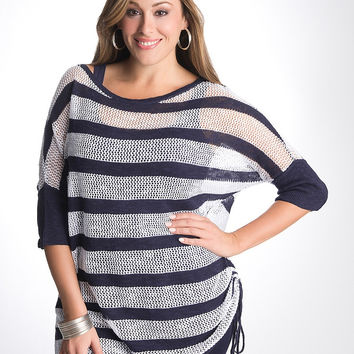 17885 Lane Bryant Striped Open Stitch Dolman Sweater NWT Size 26/28