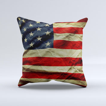 Dark Wrinkled American Flag ink-Fuzed Decorative Throw Pillow