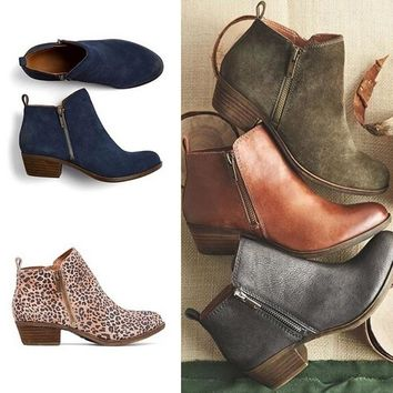 Leather Suede Low Heel Ankle Vintage Motorcycle Boots