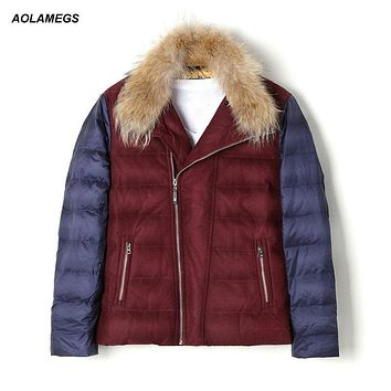 Aolamegs Winter Down Jacket Men Fur Collar Thick Warm White Duck Down Coat Fashion Slim Fit Feather Jackets Windproof Outwear