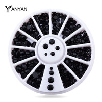 1Set Mix Sizes 3d Nail Art Decorations Black Rhinestone Wheel Nail Supplies