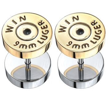 BodyJ4You Fake Ear Plugs Bullet Goldtone Steel Stud Earrings Cheater Faux Gauges 00G Look Unisex