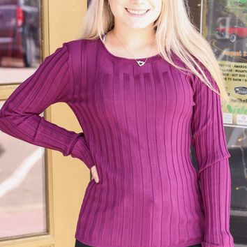 Plum Ribbed Fitted Sweater