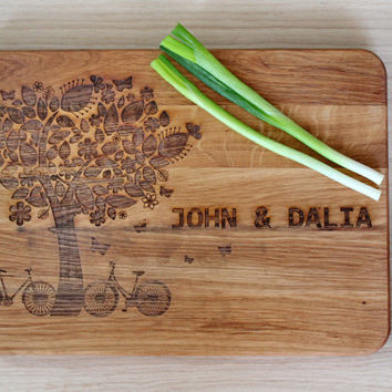 Wedding gift for the couple Cutting Board Tree Engraved Containing Couples Names and Anniversary Date Kitchen Decor