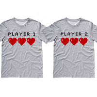 Grey Tshirt - Player 1 Player 2 Couples Shirts - Valentines Day