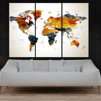 large wall art canvas travel world map, push pin world map wall art canvas print, Modern wall decor, art home decor No:10S21