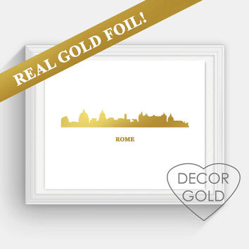 Rome Skyline REAL gold foil print, Italy  skyline gold foil , holiday sign, Illustration Art Print, Map custom print, Italy Illustration