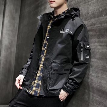 """""""Nike"""" Unisex Sport Casual All-match Solid Color Leisure Hooded Print Long Sleeve Zip Cardigan Jacket Coat Sports Clothes"""
