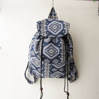 ethnic rucksack, boho backpack,tribal backpack, blue aztec, native american indian bag, hippie bag