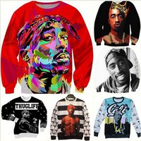 New fashion 3d character sweatshirts print Tupac Shakur 2Pac sweatshirt men/women Harajuku hoodies colegial clothing size S-XXL