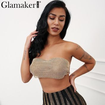 Glamaker Party diamond sexy camisole tank top Women chain elastic summer crop top tees Female strapless club drilling top cami